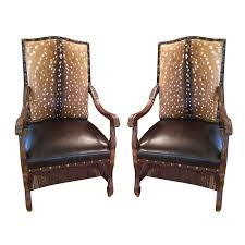 Leather Arm Chairs Axis Deer Hide U0026 Leather Armchairs Pair Chairish