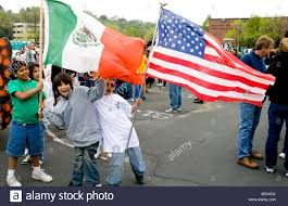 Mexican American Flag Mexican American Kids Age 11 Marching In Parade With American And
