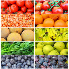 collage of different healthy organic colorful fruit and vegetables