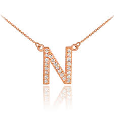initial monogram necklace 14k gold letter n initial diamond monogram necklace
