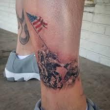 Flag Iwo Jima Iwo Jima Colored Flag Tattoo Veteran Ink