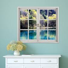 green lake pag 3d artificial window wall decals landscape room 3d window sticker