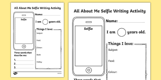 all about me selfie writing worksheet start of the year