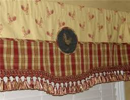 Toile Cafe Curtains Rooster Valances Scalloped Spice Yellow Gold
