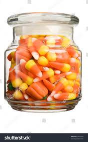 halloween candycorn pumpkin filled glass jar stock photo 17916706