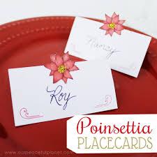free poinsettia printable christmas placecards