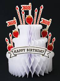 happy birthday strawberry cake honeycomb pop up decorative