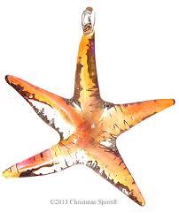 glass figurine orange glass starfish ornament