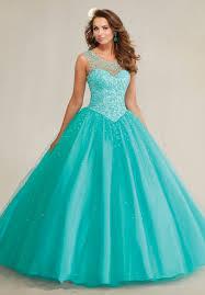 quinceanera dresses aqua fashion scoop backless gown tullle beaded cheap aqua