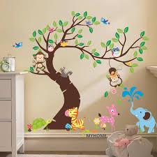 stickers arbre chambre b oversize de bande dessinée singe sur l arbre sticker bébé