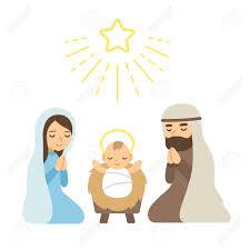 christmas nativity scene with baby jesus modern flat vector