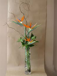 Artificial Flowers In Vase Wholesale Tall Glass Bamboo Vase With Birds Of Paradise Curly Willow