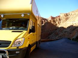 mercedes sprinter rv in the dades gorge in morocco twisty and