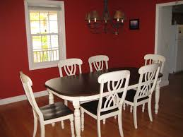 White Leather Dining Room Chair by Red Fabric Tablecloth Red Dining Room Ideas Wooden Varnished