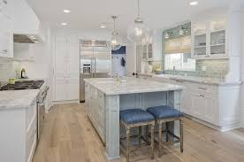 Green Subway Tile Backsplash Transitional White And Green Kitchen With Blue Denim Backless Counter Stools