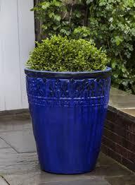copelia glazed planter in riviera blue by campania international