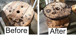 outdoor tables made out of wooden wire spools cable spool table and chair earthy inspired