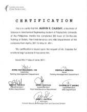 Certification Letter Of Accomplishment Ojt Certificate Of Completion