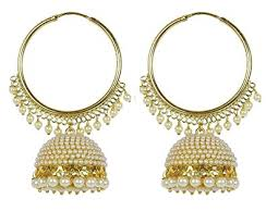 stylish gold earrings royal bling stylish gold plated traditional pearl polki hoop