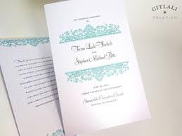 Folded Wedding Programs Elegant Script Navy Palm Tree Beach Wedding Invitations Citlali