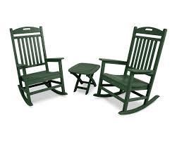 Polywood Jefferson Rocking Chair Yacht Club 3 Piece Rocker Set Trex Outdoor Furniture