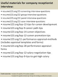 Reception Resume Samples Top 8 Company Receptionist Resume Samples