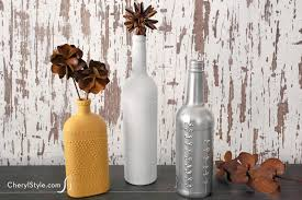 Puff Paint Wine Bottle Vases Everyday Dishes