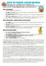 worksheet how to write a book review