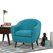 simpli home roundstone aqua blue fabric arm chair axctub 007 abl
