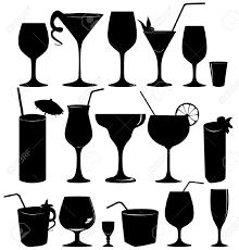 martini glass vector 21604129 bere collezione di icone di vetro set vettore silhouette