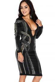 black long sleeve studded beaded plunging neckline party dress