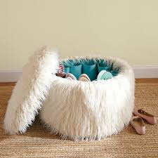 faux fur ottoman with storage hidden shoe storage in this fun fuzzy ottoman great for the dorms