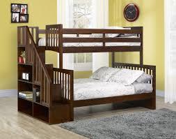 Darren Twin Over Full Bunk Bed With Bookshelf Stairs By Caramia - Twin over full bunk beds with stairs
