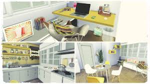 sims 4 yellow kitchen with desk dinha