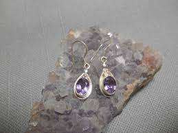 amethyst drop earrings amethyst 925 sterling silver drop earrings from