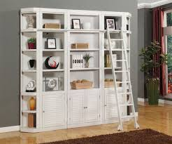 Library Bookcases With Ladder Wall Units Interesting Wall Unit Book Shelves White Library