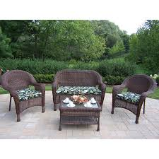 shop oakland living resin wicker 4 piece wicker patio conversation