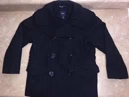 gap kids boys true navy wool peacoat winter coat jacket size m 8