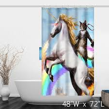 funny fitting cat ride fire horse shower curtain custom shower