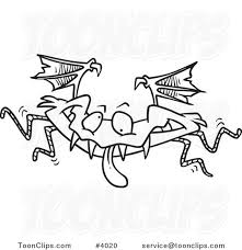 cartoon black and white line drawing of a monster bat 4020 by ron