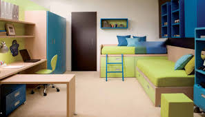 funky bedroom with lime green and blue accents themed feat comfy