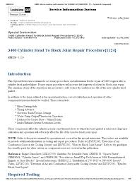 3400 cylinder head to block joint repair procedure 1124