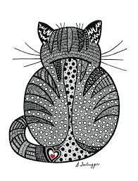 photographie noir et blanc zentangle chat dessin cat art