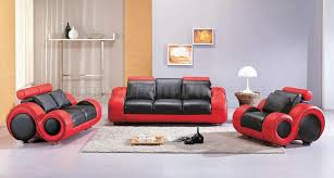 Black  Red TwoTone Leather Pc Modern Living Room Set - Modern living room set