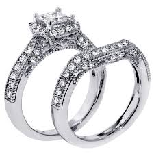 Wedding Rings Sets For Women by 1 Carat Vintage Princess Cut Diamond Wedding Ring Set For Women