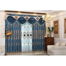 Valance Curtains For Living Room Designs Blue Damask Embroidery Chenille Thermal Valance Curtains For