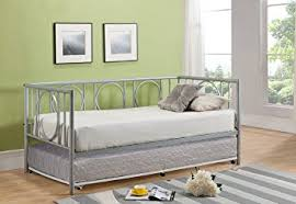 amazon com twin size silver metal day bed frame with white pop up