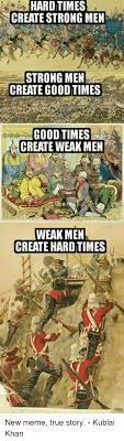 Create Meme Comic - hard times create strong men strong men create good times good times