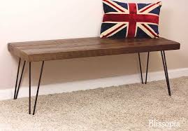 hairpin leg bench reclaimed wood bench dining bench entry
