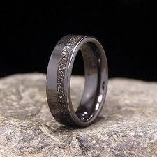 black zirconium wedding bands meteorite shavings offset inlay black zirconium wedding band or